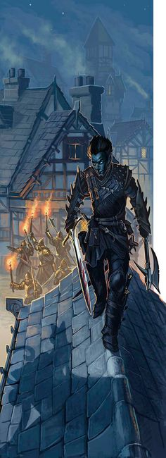 A Drow assassin makes his way easily amongst the rooftops of the humans.  His escape is assured.