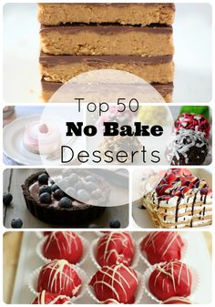 Top 50 No Bake Desserts Round Up (Apple Snickers Salad Featured) No Bake Treats, No Bake Desserts, Easy Desserts, Delicious Desserts, Dessert Recipes, Yummy Food, Dessert Healthy, Baking Desserts, Snack Recipes