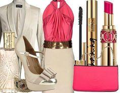 Outfit - Falda beige, blusa fucsia