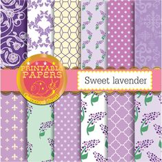 Lavender digital paper, sweet lavender backgrounds 12 lilac purple scrapbook papers #bestofEtsy #etsyretwt