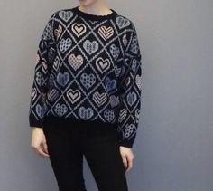 Vintage Retro 80s 90s Blue Knit Heart Print by alicksandraflin