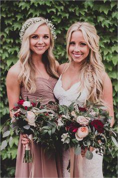 Steal This Bridesmaid Look From Dessy (Wedding Chicks) Mauve Wedding, Maroon Wedding, Wedding Bells, Boho Wedding, Wedding Colors, Dream Wedding, Wedding Day, Trendy Wedding, Wedding Bouquets