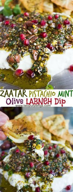 Labneh Dip with Zaatar Pistachio Mint Olive Topping. This the BEST lightest and most flavorful way to do a DIP! Use Greek yogurt for a quick substitute, and pile up the sweet, crunchy, spicy,toasty and salty--ABSOLUTELY delicious! Get the recipe for this dip, Zaatar chips and labneh from scratch! www.twopurplefigs...