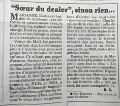Merci au Canard pour cet article sur mon livre Marianne La soeur du dealer. Canard Enchaîné du 5 Avril 2017