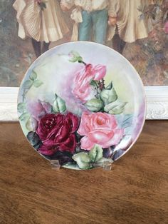 ANTIQUE HAVILAND LIMOGES FRANCE HAND-PAINTED PLATE LARGE PINK / RED ROSES