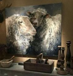 snuggle sheep, for farmhouse bedroom<br> Sheep Paintings, Animal Paintings, Drawing Artist, Painting & Drawing, House Painting, Sheep Art, Bedroom Art, Wildlife Art, Painting Inspiration