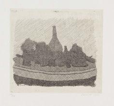 Giorgio Morandi - Vari oggetti su un tavolo - Acquaforte su rame, es. 12/30 - cm. 17,5x19,5 (lastra), cm. 28,4x43,7 (carta)