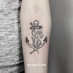 #bianicon #anchor #flowers #blackwork #linework #tattoos