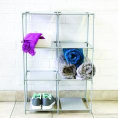 petite Multi-Purpose Free-Standing 6 Cubed Organizing Storage Shelf, Grey, Multicolor, Home Basics(Fabric) Cube Storage Shelves, Closet Storage, Storage Organization, Storage Spaces, Shelving, Open Shelves, Organizing, 6 Cube Organizer, Cube Design