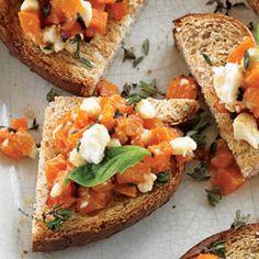 Butternut Squash Crostini Recipe. Diabetic Friendly, lower carb recipe from Diabetic Gourmet Magazine. DiabeticGourmet.com