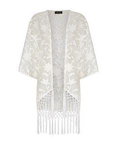 Cream Floral Embroidered Mesh Tassel Hem Kimono  | New Look
