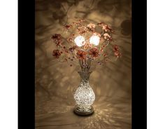 Blossom Silver Wire Lamp Pink Flowers