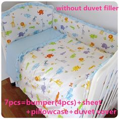 Promotion! 6/7PCS Crib Bedding Baby Products For Newborn Cute Girls Bedding Sets Cute Cot Bedding Set ,120*60/120*70cm
