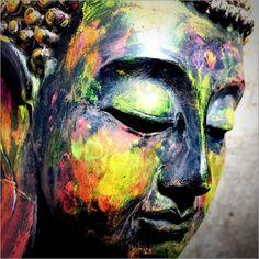 Poster Buddhakopf bunt