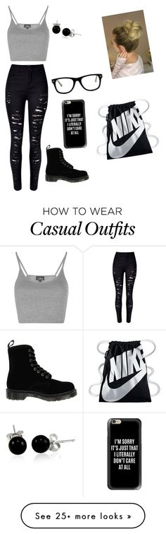 """""""Casual#1"""" by hannamoe-karlsson on Polyvore featuring Topshop, WithChic, Dr. Martens, Casetify, Muse, Bling Jewelry and NIKE"""
