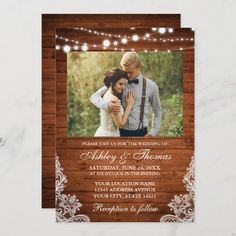 Summer Wedding Invitations, Beautiful Wedding Invitations, Invites, Invitation Cards, Lace Weddings, Wood Lights, String Lights, Rustic Wedding, Wedding Ideas