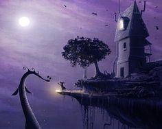 break house monster girl light fairy fantasy Canvas Wall Poster