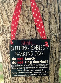 Sleeping Baby No Soliciting Sign Barking by TheLittleSparkleShop