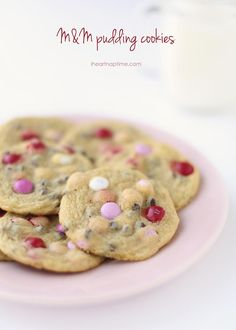 Valentine M&M cookies -with pudding mixed in so they're extra soft!