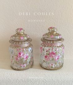 Chic Painting French Chic Vintage Style French Roses Glass Dresser Jar Set by Debi Coules Shabby Chic Cabin, Shabby Chic Storage, Shabby Chic Vanity, Romantic Shabby Chic, Shabby Chic Crafts, Shabby Chic Style, Shabby Chic Furniture, Vintage Furniture, French Chic