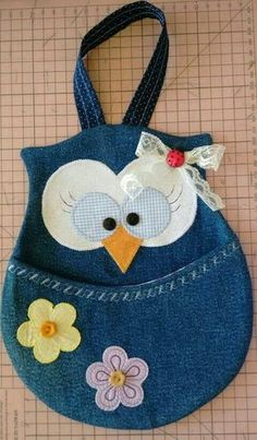 owl crafts sewing * owl crafts & owl crafts for preschoolers & owl crafts for kids & owl crafts for toddlers & owl crafts for adults & owl crafts for kids to make & owl crafts diy & owl crafts sewing Jean Crafts, Denim Crafts, Fabric Crafts, Sewing Crafts, Sewing Projects, Sewing Diy, Owl Crafts, Diy And Crafts, Owl Patterns
