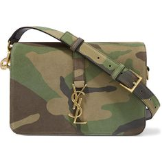 Saint Laurent Sac Université medium camouflage-print suede shoulder... ($1,725) ❤ liked on Polyvore featuring bags, handbags, shoulder bags, green, suede handbags, brown suede purse, shoulder handbags, camo purse and purse shoulder bag