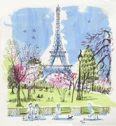30.6.12 Paris in Spring Time as a 6 colour screen print from my evening class.