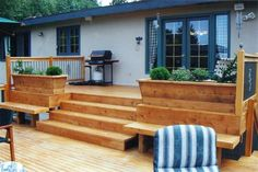 Deck with planter box seats