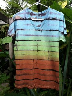 Mens small Multicolor Shibori Landscape tie Dye T-shirt vneck on Etsy, $10.00