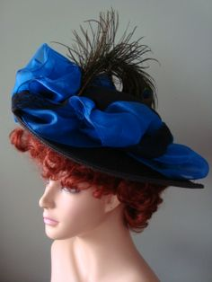 Hats: Royal Blue/Black Victorian Hat, Kentucky Derby Hats
