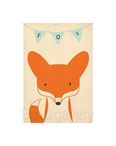 Retro poster - fox, vixen, forest animals - vintage print, A2, nursery wall decoration, retro wall decor, cute baby animal via Etsy