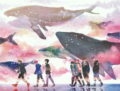 in the middle of the ocean one lonely whale cries. No matter how much it shouts, no one can hear it Bts Chibi, Foto Bts, Bts Photo, Bts Spring Day, Bts Drawings, Bts Fans, Kpop Fanart, Bts Pictures, Bts Bangtan Boy
