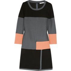 See by Chloé Color-block cotton and wool-blend dress ($190) ❤ liked on Polyvore