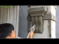 Great Creative Construction Ideas - Build Up Decorative Concrete Columns Step By Step Entrance Design, Facade Design, Wooden Window Design, Front Wall Design, Cement Work, Interior Design Your Home, Compound Wall Design, House Columns, Cement Design