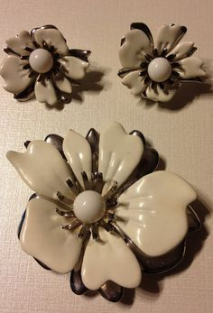 Vintage Pin and Clip On Earrings White Enamel by vintagerepublic1, $30.00