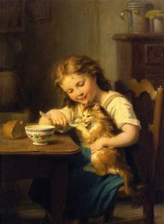 'Little Girl feeding her cat' - Fritz Zuber Buhler | Swiss born French painter 1822-1896 | 19th century Digoin Sarreguemines bowl, probably early Mary Lou design.