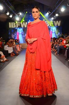 Stunning Neha Dhupia walks the Ramp For Sangeeta Sharma at The India Beach Fashion Week 2015