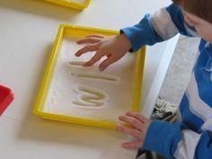 Salt Tray Heart Printing and Writing by Teach Preschool
