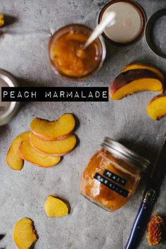 Peach Marmalade & Peach Syrup (for tea) Chocolate Chip Brownies, Pumpkin Chocolate Chips, Jam Recipes, Canning Recipes, Peach Syrup, Peach Jam, Gula, Fresh Fruit, A Table