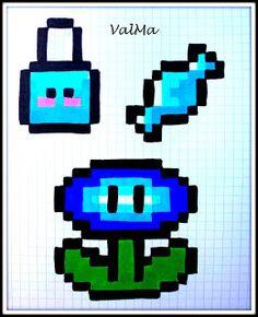 Les Créas de ValMa: Mes modèles Dessins Pixels - Novembre 2016 Super Mario, 8 Bits, Modele Pixel Art, Cross Stitch, Animation, Voici, Gallery, Drawings, Bille