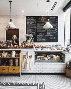 Stunning French style patisserie, with a real modern twist. Bakery Shop Interior, Bakery Shop Design, Coffee Shop Interior Design, Coffee Shop Design, Cafe Design, Restaurant Design, Bistro Interior, Patisserie Design, Bakery Store