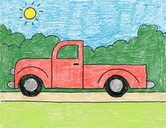 How to Draw a Simple Truck · Art Projects for Kids - myeasyidea sites Basic Drawing For Kids, Drawing Lessons For Kids, Easy Drawings For Kids, Cute Drawings, Art Lessons, Kids Art Class, Art For Kids, Drawing Competition, Christmas Art Projects