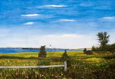 CHAPPAQUIDDICK FIELD – Chappaquiddick, Martha's Vineyard. Signed limited edition (50) giclée print of a watercolor painting• Size: 19.25 X 13.5 inches $175 #MarthasVineyard #watercolor #painting # Chappaquiddick