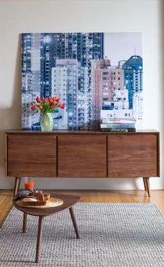 NEW! SENO walnut sideboard  Artwork: Cityscape - Urban Landscape IV :copyright: Bence Bakonyi