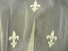 Lace Sheer Fleur de Lis Embroidered Net Ivory Curtain Fabric Drapery Fabric LDSO504