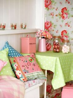 love: Nuts about Beach Huts - lime green, red and flowers