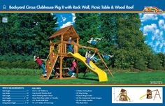 6D Backyard Circus Clubhouse Pkg II with Rock Wall, Picnic Table and Wood Roof #swingsets #rainbowplay #rainbowplaysystem #rainbowplaysystems