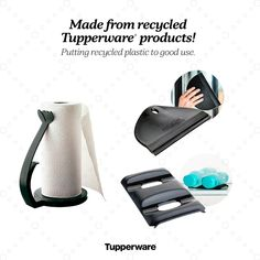 3 useful items made from recycled Tupperware. The one handed paper towel dispenser. Bottle thingies to stack on the fridge A glass wiper thingy to use on your windows or shower Reduce Reuse, Reuse Recycle, Recycling, Works Shop, Tupperware Recipes, Paper Towel Holder, Plastic Waste, Awesome Things, Helping People