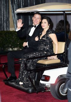 The 100 Best Pictures From Oscars Night: Channing Tatum and Jenna Dewan got a ride on a golf cart after the Oscars.