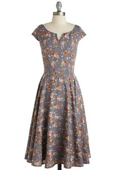 Garden Verity Dress - Long, Woven, Grey, Multi, Floral, Daytime Party, Vintage Inspired, Cap Sleeves, Work, 50s, Fit & Flare